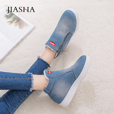 Denim winter shoes woman 2019 new women sneakers side zipper plush platform warm winter canvas shoes tenis feminino plus size Pakistan