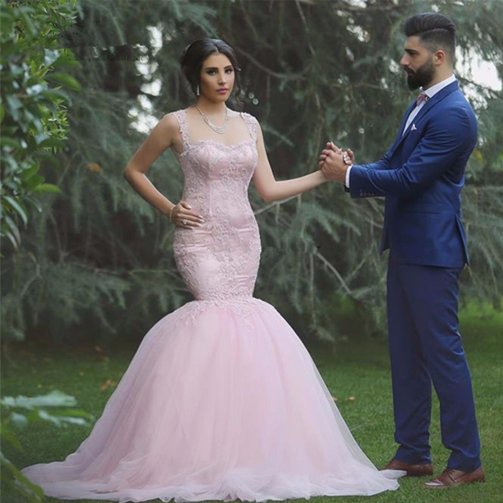Sexy Pink Lace Mermaid 2018 Vestido De Noiva Sereia Women Brides Backless Bridal Gown Casamento Mother Of The Bride Dresses