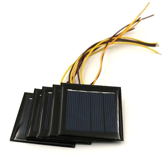 5 pcs/Lot panneau solaire 2V 0.2W 100mA avec 15cm étendre le fil pour charger les téléphones portables pour bricolage charge Module polycristallin cellule solaire
