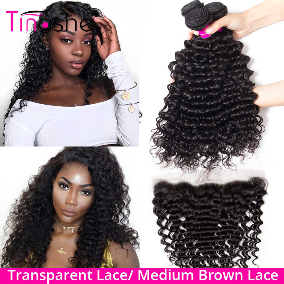 Tinashe Hair Deep Wave Bundles With Frontal Transparent Lace Closure With Bundle Brazilian Curly Human Hair Bundles With Frontal