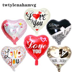New 18-inch LOVE YOU Heart-shaped White and Red Foil Balloon Proposal Wedding Mother's Day Birthday Party Decorating Baby Toys
