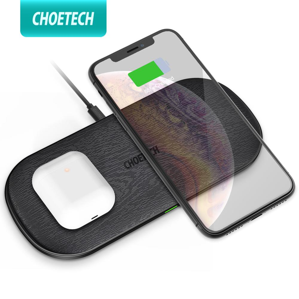 CHOETECH Qi Dual Wireless Charger 15W 5 Coils for iPhone 11 X Max 8 Fast Wireless Charging Pad for Samsung S10 S9 AirPods 2 ProWireless Chargers   -