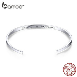 """Image 1 - bamoer Engrave Courage Bangle """"Nothing is impossible"""" Fashion Hot Sale 925 Sterling Silver Jewelry for Man and Women SCB160"""