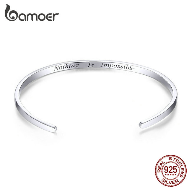 """bamoer Engrave Courage Bangle """"Nothing is impossible"""" Fashion Hot Sale 925 Sterling Silver Jewelry for Man and Women SCB160"""