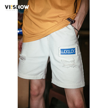 VIISHOW Streetwear White Hole Mens Shorts Brand Casual 100% Cotton Men Bermuda 2019 New Summer Short Masculino KD1589182