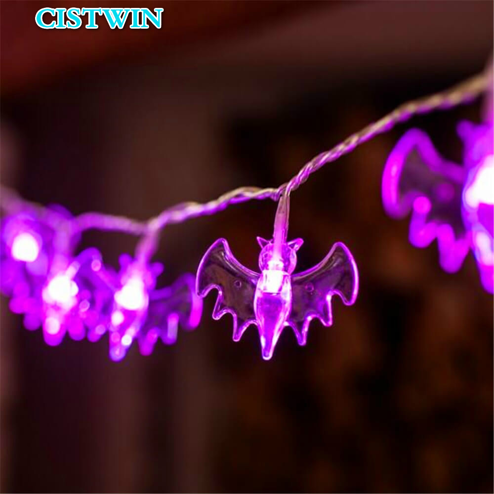 10.3ft Bat Battery Operated Halloween 20 Led String Holiday Halloween Decorations Led String Light Party Garden Decoration Light