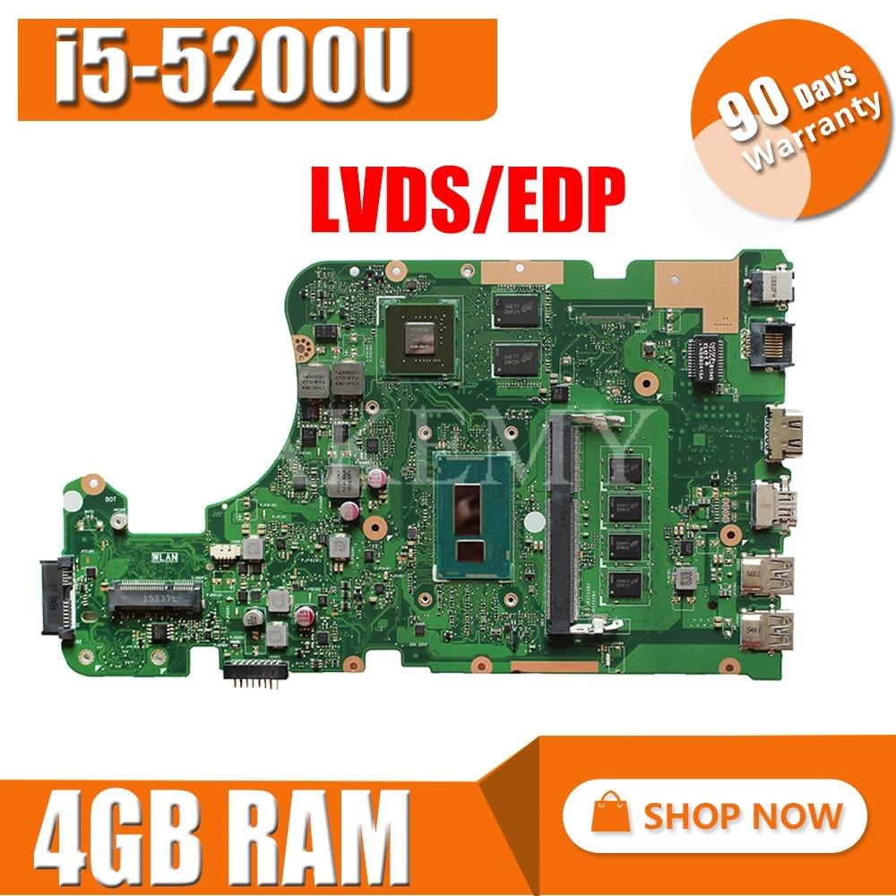 Placa-mãe do Portátil para Asus X555li X555l Teste Mainboard Original I5-5200u 4 gb Ram Lvds – Edp X555ld X555lp X555lj X555lb X555ln