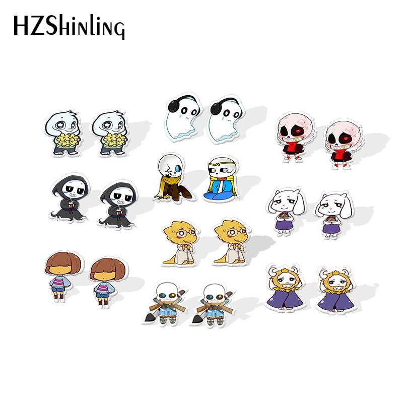 2019 New Sans Undertale Game Acrylic Earring Epoxy Stud Earring Video Game Shrinky Dinks Earrings Jewelry Fans