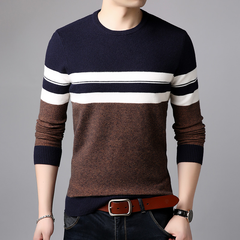 AIRGRACIAS 2019 Brand Casual Men Pullovers Knitted Striped Male Sweater Men Dress Thick Mens Sweaters Jersey Clothing Autumn New 2