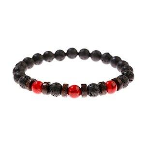Image 4 - Классические браслеты из черной лавы и Красного камня, мужские молитвенные аксессуары для медитации, женские Украшения для йоги, Прямая поставка