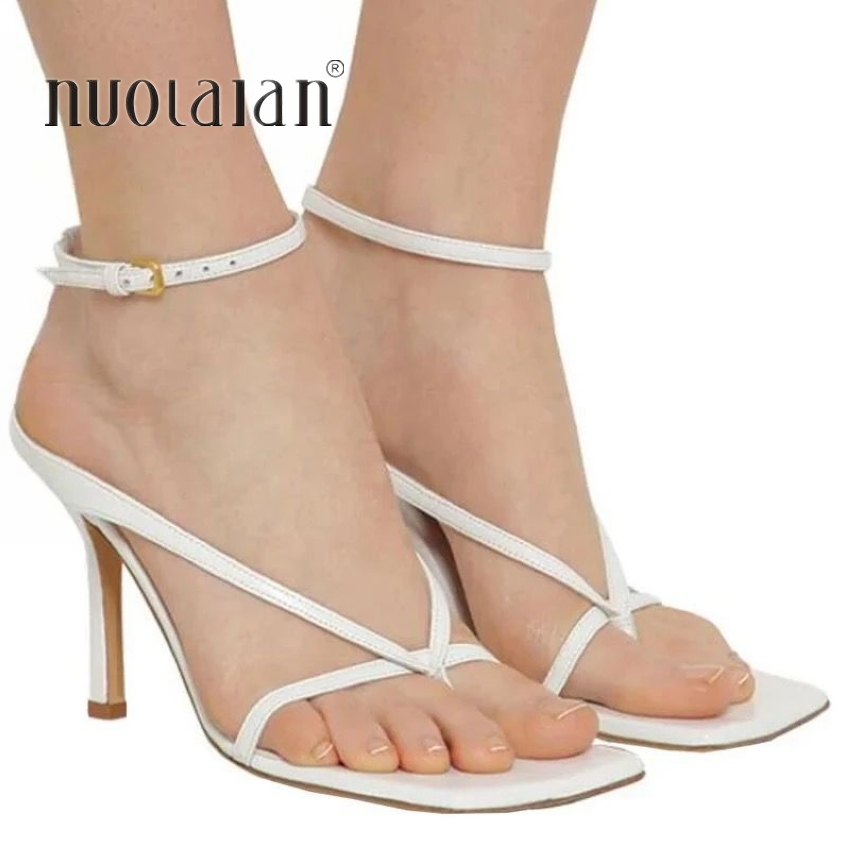 2020 Ankle Strap High Heels Women Sandals Summer Shoes Square Toe 9CM High Heel Party Dress Shoes Narrow Band Sandal New