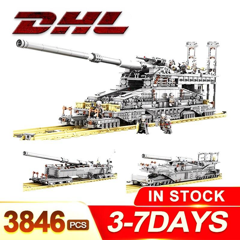 3846pcs Military Heavy Gustav//Dora Cannon Railway GUN WW2 Building Blocks Gift