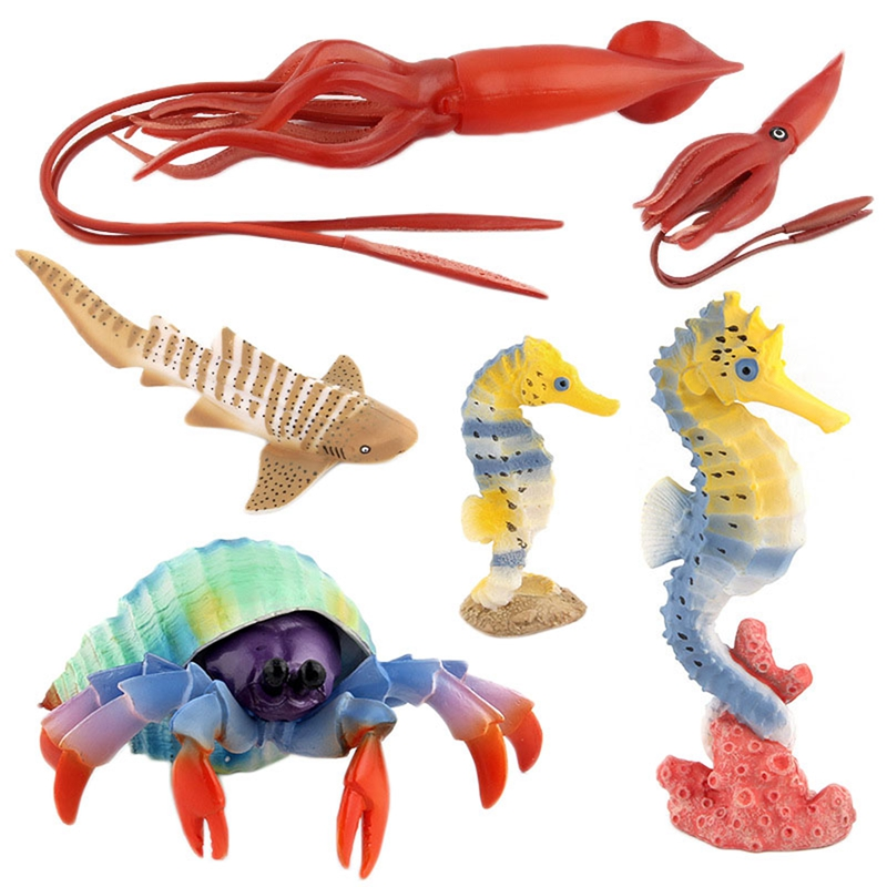Action Toys Figure Ocean Marine World Biological Animal Mini Octopus Hippocampus Toy Collection Model Dolls For Kids Gift