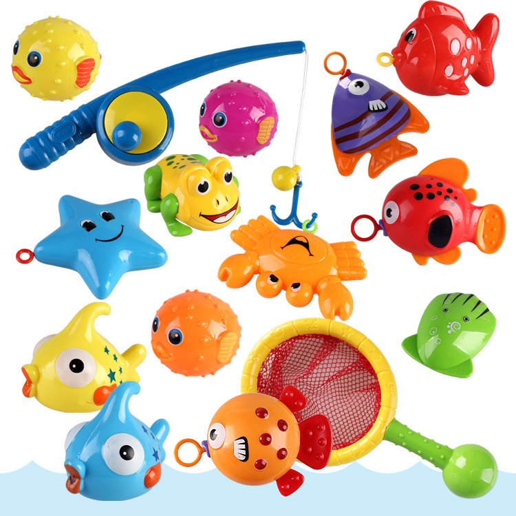 Children Bath Fishing Toys Suit New Style Upgraded Eco-friendly Fun Fishing Floating Play Water Toys Kids Baby Gifts