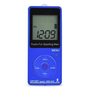 Image 4 - Rádio esporte portátil mini fm am rádio receptor de rádio step counting rádio com grande display lcd fone de ouvido com fone de ouvido estéreo backlight