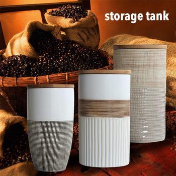 Creative Ceramic Coffee Bean Jar Handmade Storage Bottle Sealed Coffee Bottle Kitchen Jar Sugar Dried Fruit Cereal Storage Tank 6