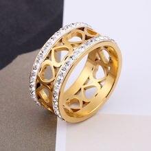 Женское кольцо в стиле хип хоп из нержавеющей стали с фианитами