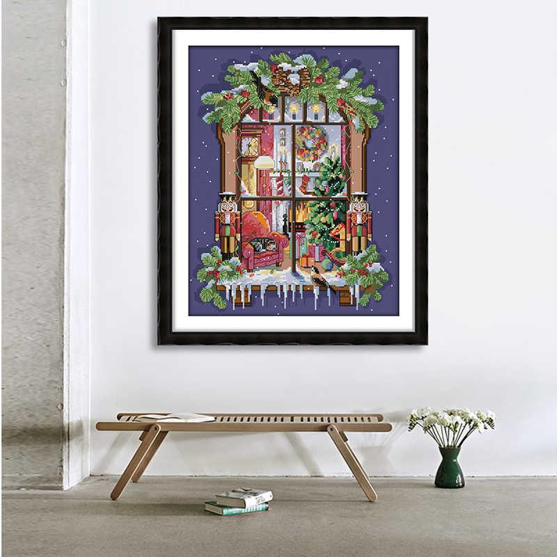 Kit point de croix pour fenêtre de noël | Tissu imprimé 14ct broderies en fil de coton écologique broderie, décoration de maison moderne