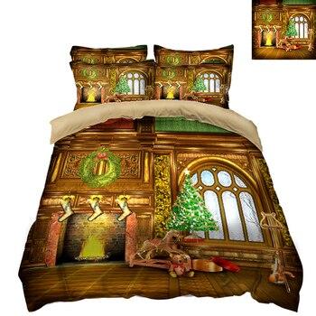 Print Bedding set Duvet Cover Christmas Theme New Year Pattern Double Bedding 3pcs/set Home Textile Quilt Cover Pillowcase