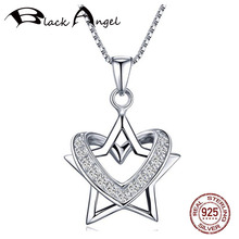 цена S925 Sterling Silver Sparkling Zircon Heart Around Star Charm Pendant Necklaces for Women Fine Jewelry онлайн в 2017 году