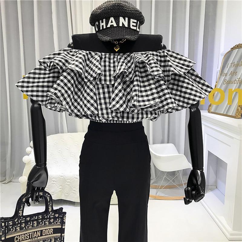Off Shoulder Crop Tops Women 2020 Summer Slash Neck  Plaid  Streetwear Fashon Moda Mujer Ropa Feminine Clothes