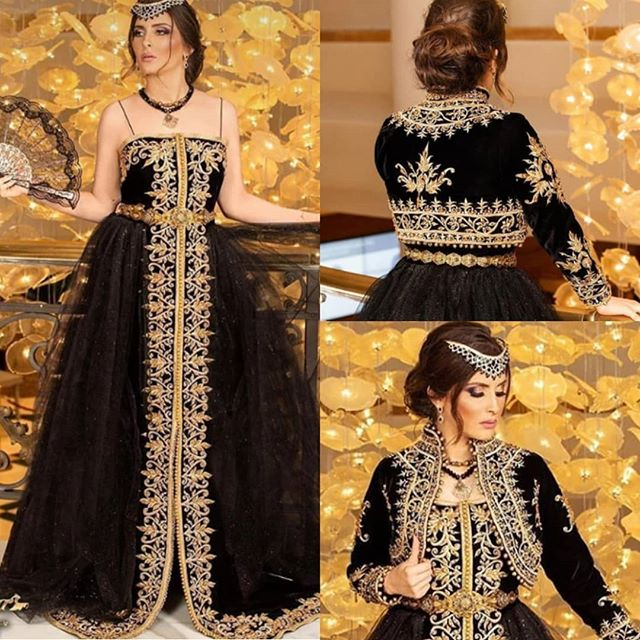 Black Gold Karakou algerien Prom Party Dresses with Long Sleeve Jacket 2021 Plus Size Muslim Hijab Evening Formal Gowns