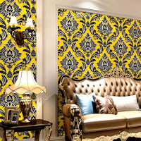 Bacal Extra Thick Embossed 3d Damask Wallpaper Rolls for Living Room Sofa Background 3d Damask Wall paper Roll Wallcoverings