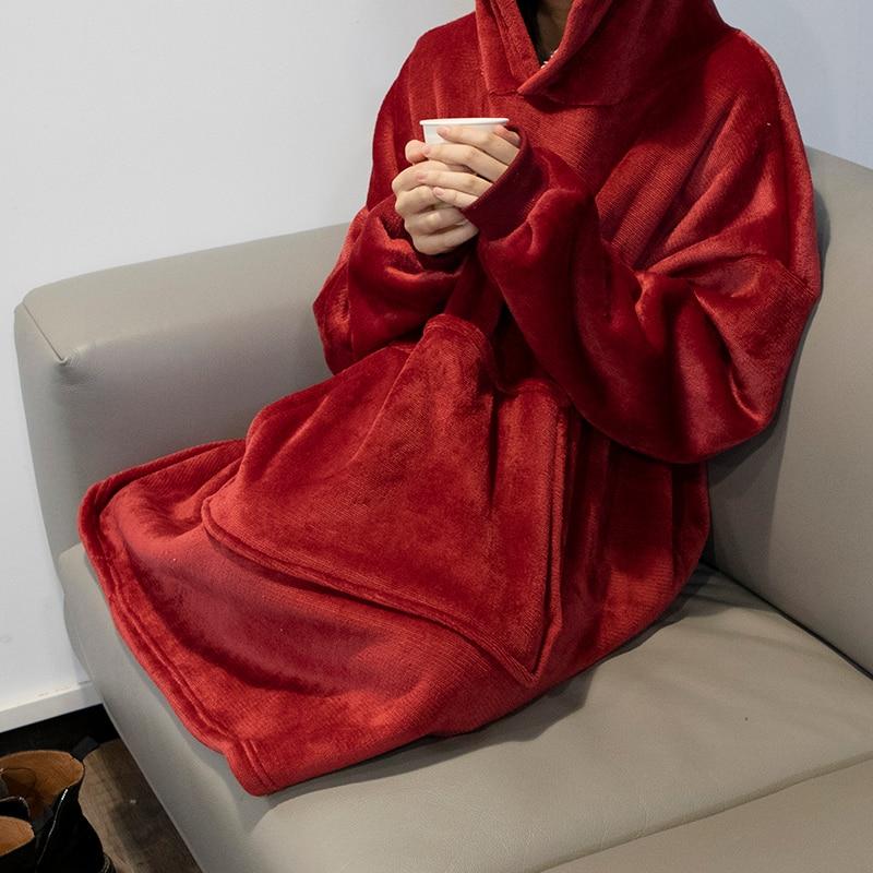 Winter Warm TV Hooded Blankets Sofa Cozy Coral Fleece Hoodie Blanket Adults Kids Bathrobe Weighted Blanket with Sleeves Outwears-1