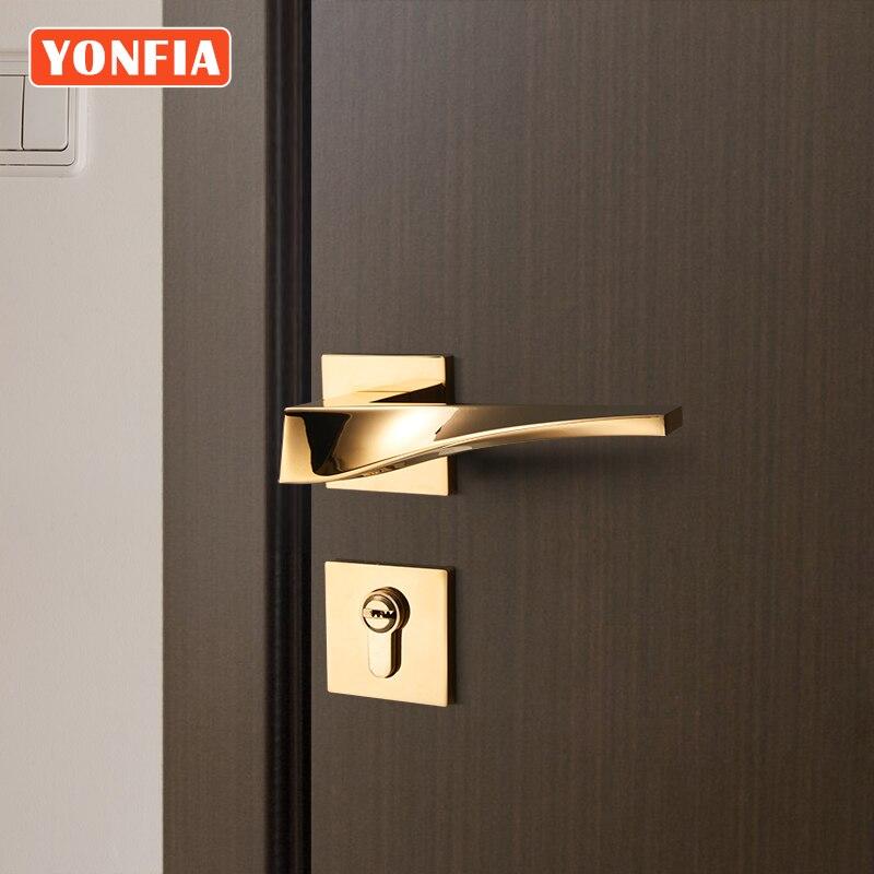 YONFIA 8041 Modern design PVD Gold House Home Room Door Handle for Interior Door Lever Lock Handle Set for Door Hardware Gold