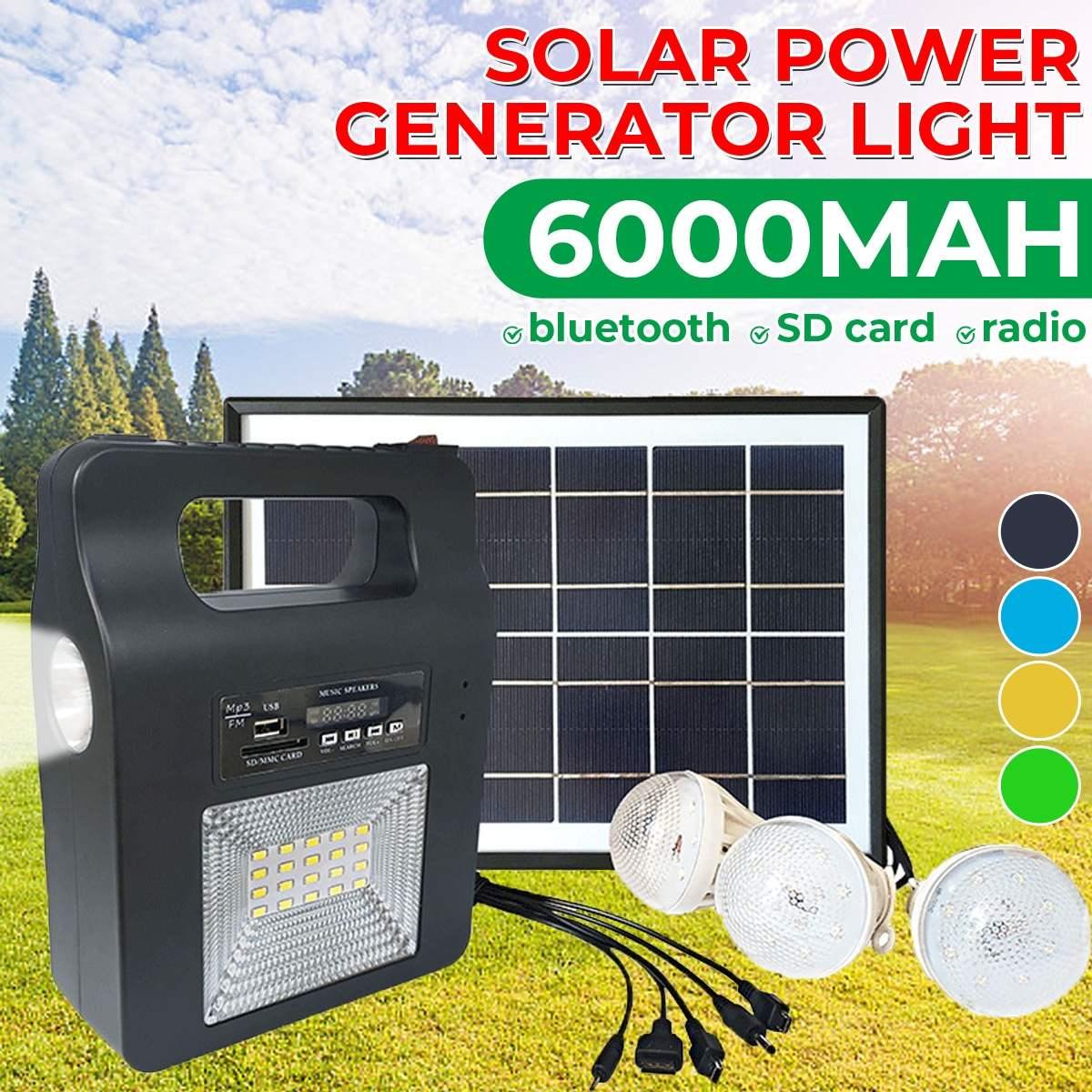 5w carregador usb casa sistema de energia solar painel gerador kit fm alto falante bluetooth com