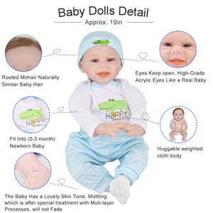 Image 5 - 55cm Realistic Reborn Baby Doll Soft Silicone Stuffed Lifelike Baby Doll Toy Ethnic Doll For Kids Birthday Christmas Gifts