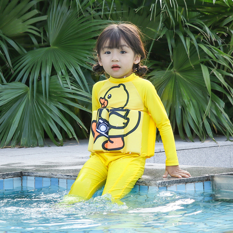 Korean-style Cute Small Yellow Duck KID'S Swimwear Girls Swimwear Long Sleeve Sun-resistant CHILDREN'S One-piece Swimwear Fu Li