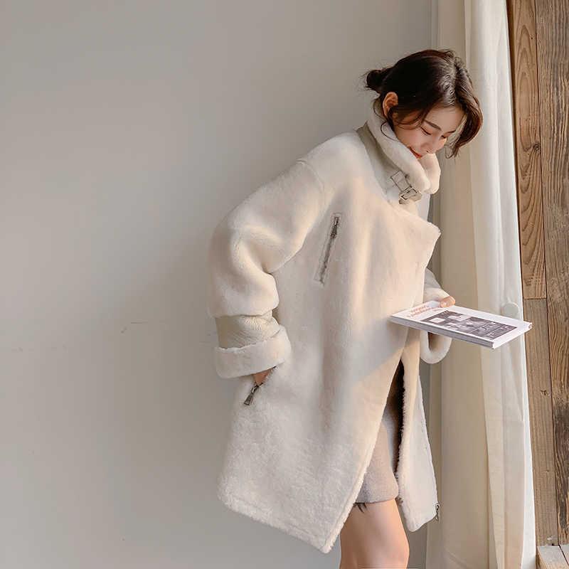 Casaco de pele natural das mulheres 100% jaqueta de lã roupas femininas 2020 parka pele real casaco de inverno feminino jaqueta de couro real TOM1-88880YY2408