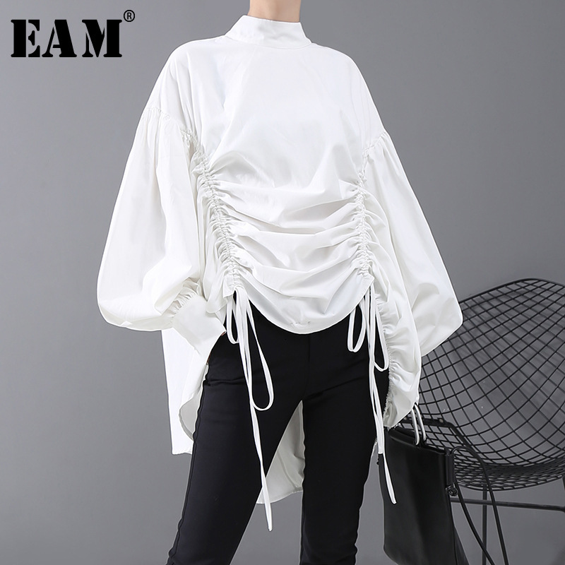 Drawstring Fit-Shirt Blouse New Satnd-Collar Long-Sleeve EAM Fashion Women Back-Long