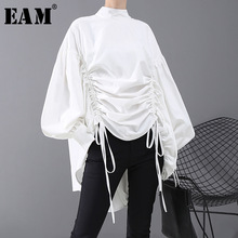 [EAM] Women Back Long Drawstring Big Size Blouse New Satnd Collar Long Sleeve Loose Fit Shirt Fashion Spring Autumn 2020 1N242