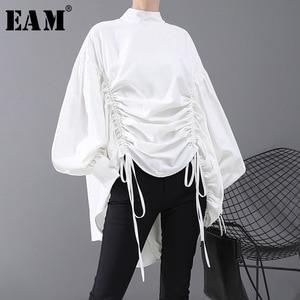Image 1 - [EAM] Women Back Long Drawstring Big Size Blouse New Satnd Collar Long Sleeve Loose Fit Shirt Fashion Spring Autumn 2020 1N242