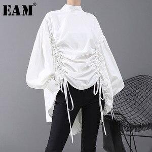 Image 1 - [EAM] blusa de talla grande con cordón largo en la espalda para mujer, camisa holgada de manga larga con cuello de satélite, a la moda, para primavera y otoño, 2020, 1N242