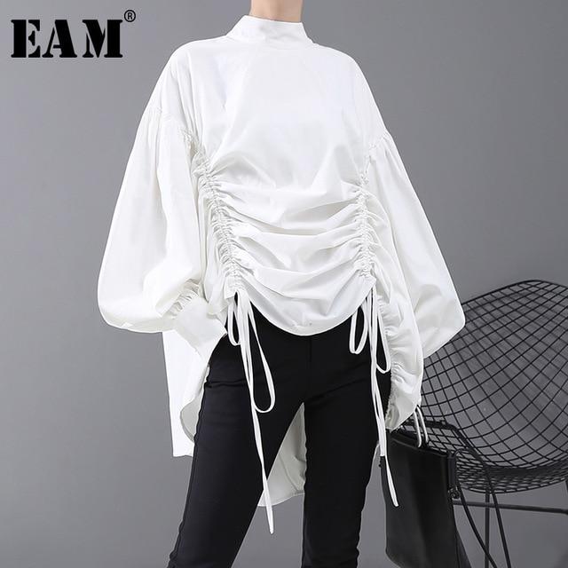 [EAM] blusa de talla grande con cordón largo en la espalda para mujer, camisa holgada de manga larga con cuello de satélite, a la moda, para primavera y otoño, 2020, 1N242