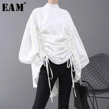 [Eam] mulheres de volta longo cordão tamanho grande blusa nova satnd colarinho manga longa solto ajuste camisa moda primavera outono 2020 1n242