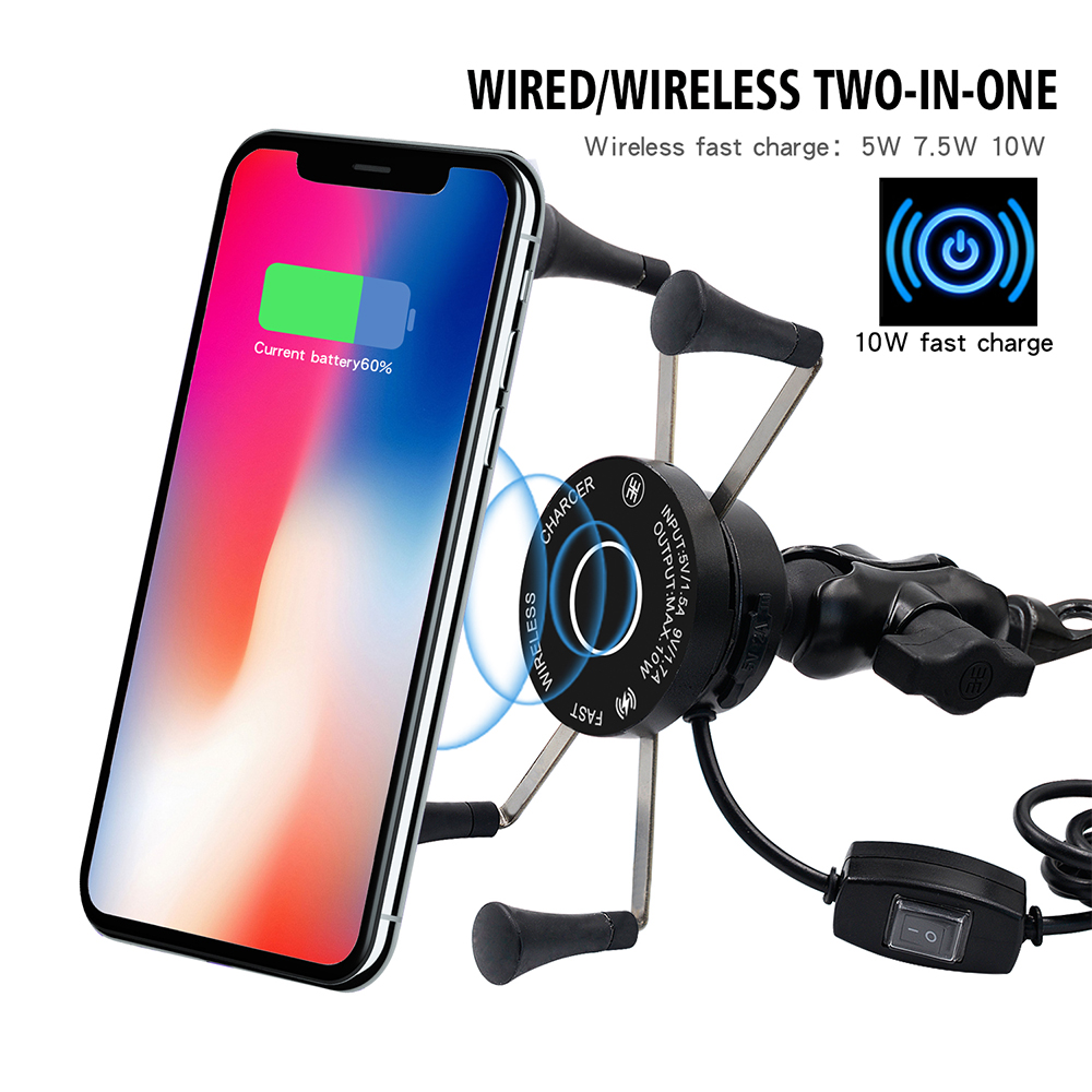 Motorcycle Phone Holder Two-in-one Charger Quick Charge 3 0 Wireless Fast Charge 360 Degree Rotation Motorcycle stand