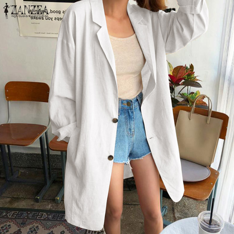 Fashion Blazer Coats ZANZEA Women Laple Neck Long Sleeve Jackets Solid Loose Elegant Ladies Work Cotton Linen Cardigan Feminino