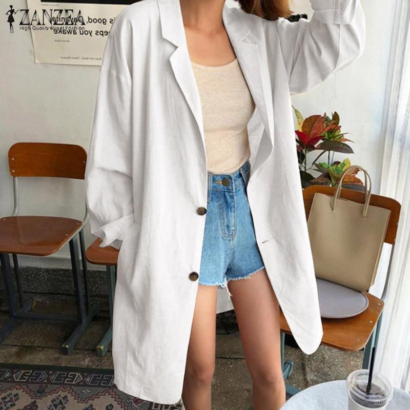 Fashion Blazer Coats ZANZEA Women Laple Neck Long Sleeve Jackets Solid Loose Elegant Ladies Work Cotton Linen Cardigan Feminino