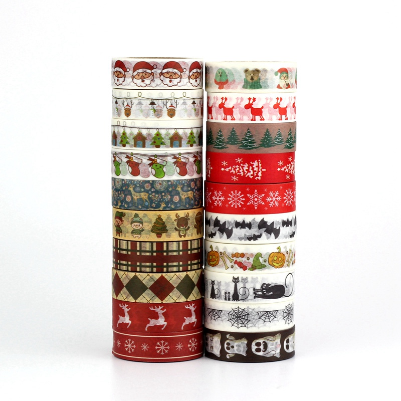 1PC Decorative Christmas Washi Tape Set Rice Paper DIY Scrapbooking Planner Adhesive Halloween Masking Tape 1.5cm*10m Stationery