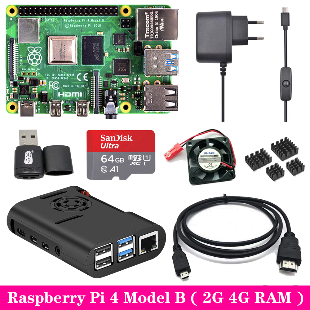 Raspberry Pi 4 Model B 2G 4G RAM + ABS Case + Cooling Fan + Power Supply Charger + Aluminum Heat Sink for Raspberry Pi 4 Model B image