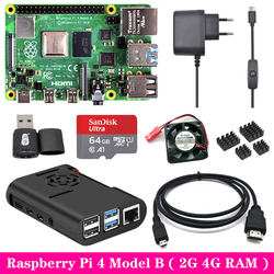 Raspberry Pi 4 Model B 2G 4G RAM + ABS Case + Cooling Fan + Power Supply Charger + Aluminum Heat Sink for Raspberry Pi 4 Model B