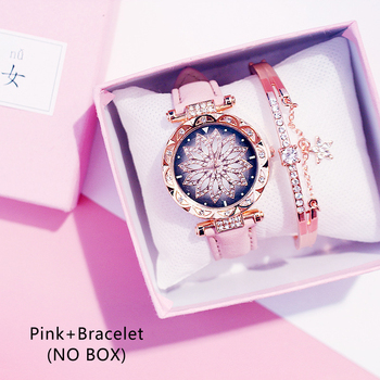 Casual Women Romantic Starry Sky Wrist Watch bracelet Leather Rhinestone Designer Ladies Clock Simple Dress Gfit Montre Femm - Pink And Bracelet