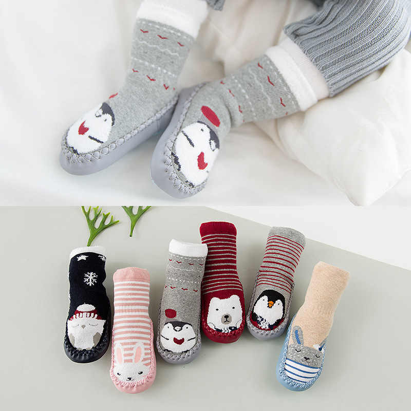 Yürüyüş bebek kat çorap bebek ayakkabısı çorap sonbahar ve kış kalın 6-12-18 ay kaymaz taban öğrenme bebek wa zi xie