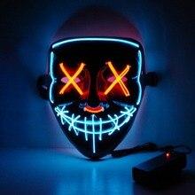 Неоновая маска на Хэллоуин, светодиодный светильник, Вечерние Маски, тушь для ресниц, отличные Забавные Маски, праздничные принадлежности для косплея, вечерние Светящиеся в темноте
