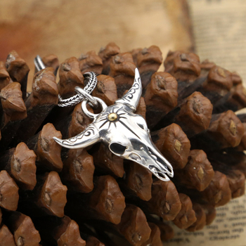 S925 silver fashion jewelry punk handmade personality male cow head pendant
