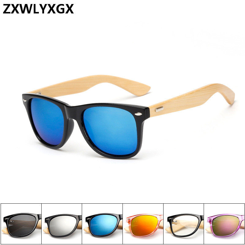 Wooden Bamboo Women Sunglasses Men Mirrored UV400 Sun Glasses Real Wood Shades Gold Blue Outdoor Goggles Sunglases Male